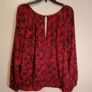 Lane Bryant Sheer Red and Black Blouse